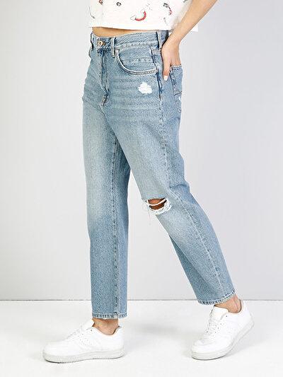 710 Sonya Normal Kesim Düşük Bel Kısa Paça Mavi Jean Pantolon