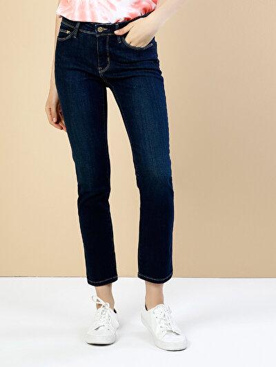 703 Carla Dar Kesim Orta Bel Düz Paça Koyu Mavi Jean Pantolon