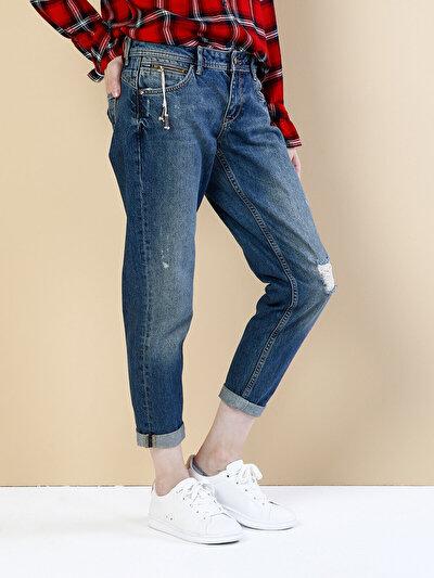 893 Julia Normal Kesim Orta Bel Kısa Paça Mavi Jean Pantolon