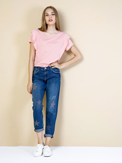 893 Julia Normal Kesim Orta Bel Kısa Paça Koyu Mavi Jean Pantolon