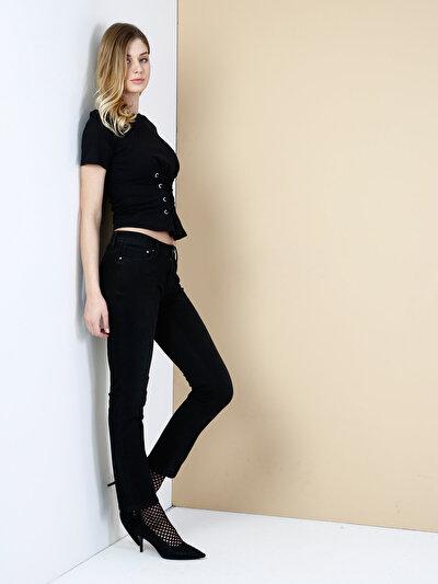 792 Mila Normal Kesim Orta Bel Düz Paça Siyah Jean Pantolon