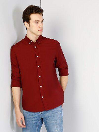 Bordo Uzun Kol Gömlek