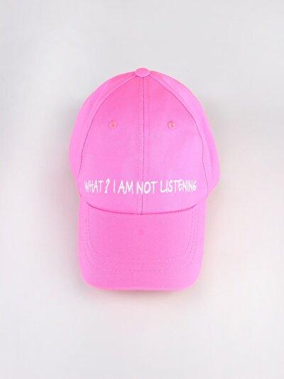 What Yazı Detaylı Pembe Kadın Şapka