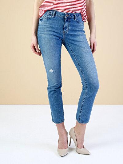 703 Carla Dar Kesim Orta Bel Düz Paça Mavi Jean Pantolon
