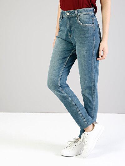 896  Maria Rahat Kesim Yüksek Bel Tapered Leg Mavi Jean Pantolon
