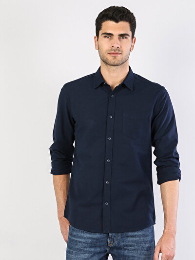 Klasik Yaka Lacivert Uzun Kol Gömlek