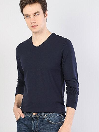 Lacivert V Yaka Uzun Kol Tişört