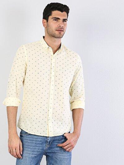 Dar Kesim Sarı Uzun Kol Gömlek