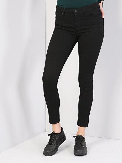 759 Lara Dar Kesim Orta Bel Dar Paça Siyah Jean Pantolon