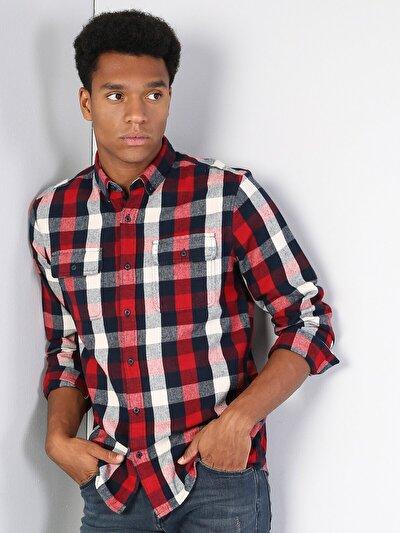 Klasik Yaka Kırmızı Uzun Kol Gömlek