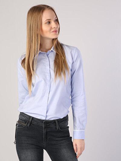 Klasik Yaka Mavi Uzun Kol Gömlek