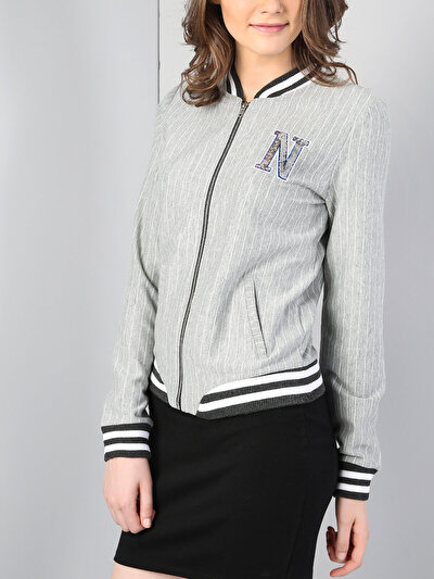 Gri Melanj Örme Kadın Ceket