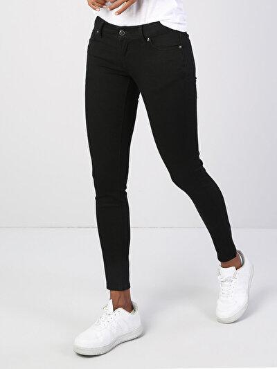 757 Sally Dar Kesim   Siyah Jean Pantolon