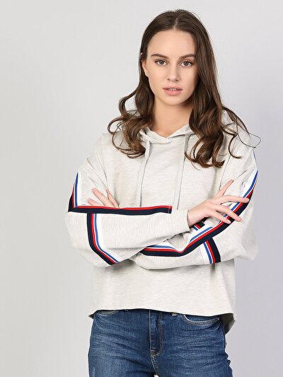 Gri Baskılı Uzun Kol Sweatshirt
