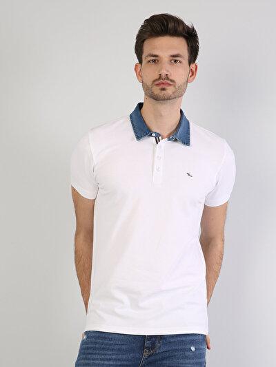 Dar Kesim Polo Yaka Beyaz Erkek Kısa Kol Tişört