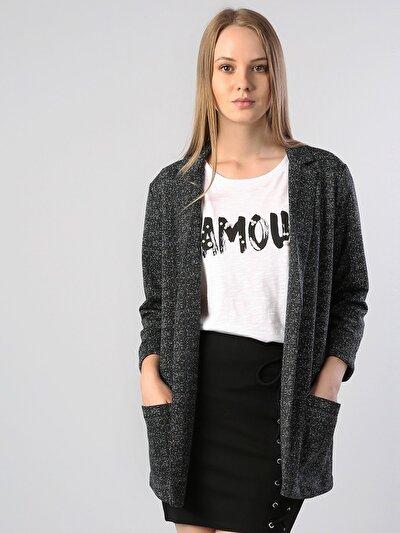 Siyah Örme Kadın Ceket