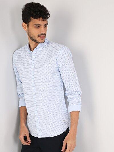 Klasik Yaka Açık Mavi Uzun Kol Gömlek