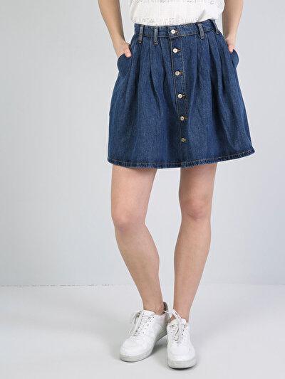 Düğme Detaylı Mini Mavi Jean Etek