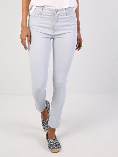Süper Dar Kesim Açık Mavi Kadın Pantolon