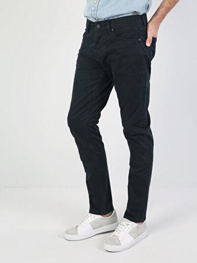 Orta Bel Düz Paça Lacivert Erkek Pantolon