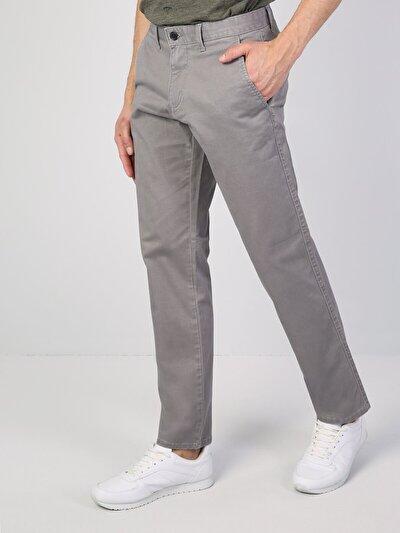 Regular Fit Orta Bel Düz Paça Gri Erkek Gabardin Pantolon