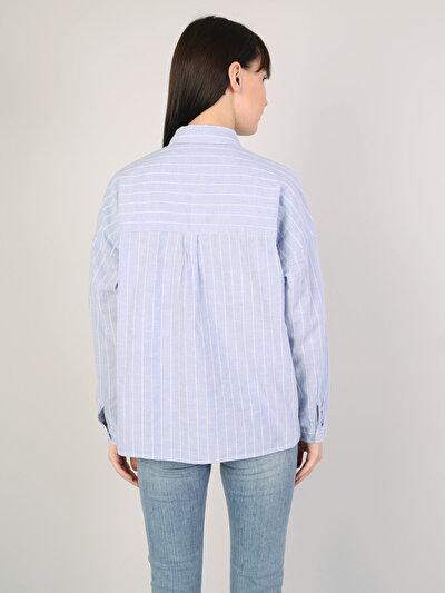 Dar Kesim Mavi Uzun Kol Gömlek