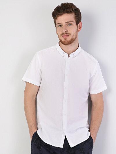 Dar Kesim Beyaz Kısa Kol Gömlek