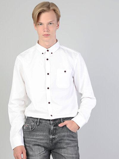 Dar Kesim Erkek Beyaz Uzun Kol Gömlek