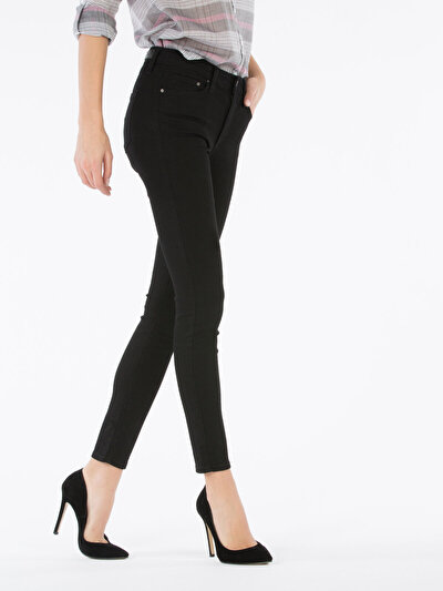 759 Lara Dar Kesim Yüksek Bel Dar Paça Siyah Jean Pantolon