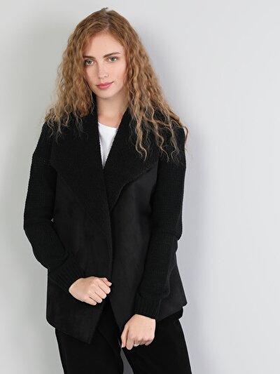 Siyah Ceket Yaka  Hırka