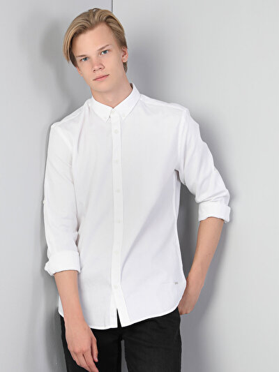 Kol Katlamalı  Beyaz Uzun Kol Gömlek