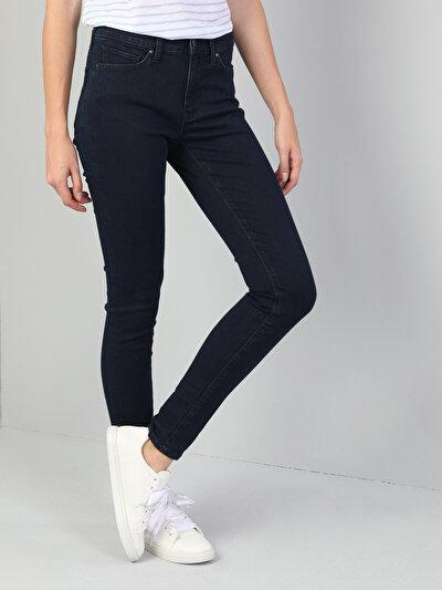 759 Lara Dar Kesim Yüksek Bel Dar Paça Koyu Mavi Jean Pantolon