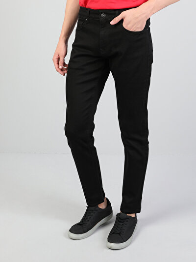 041 Danny Dar Kesim  Dar Paça Siyah Jean Pantolon