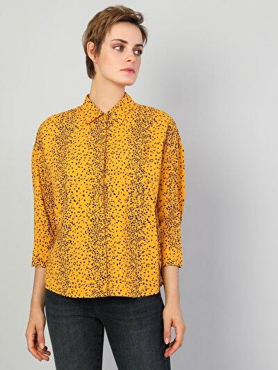 Sarı Kadın Gömlek U.kol