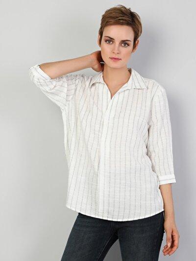Kadın Çizgili Beyaz Uzun Kol Gömlek