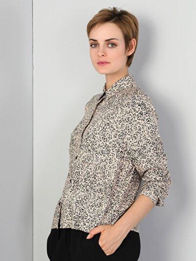 Regular Fit Kadın Bej Uzun Kol Gömlek