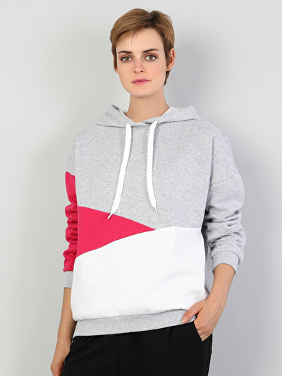 Regular Fit Kadın Gri Sweatshirt