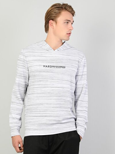 Regular Fit Erkek Baskılı Gri Sweatshirt
