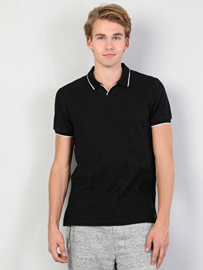 Polo Yaka Siyah Kısa Kol Tişört