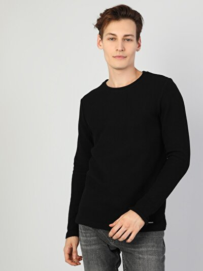 Regular Fit Erkek Bisiklet Yaka Siyah Uzun Kol Tişört