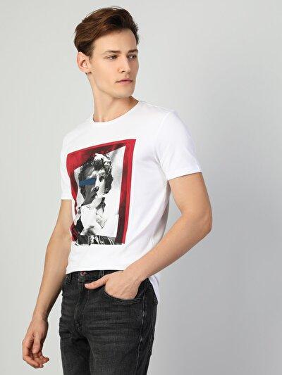 Erkek Baskılı Beyaz Kısa Kol Tişört