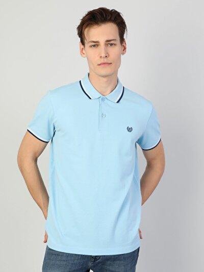 Polo Yaka Mavi Kısa Kol Tişört