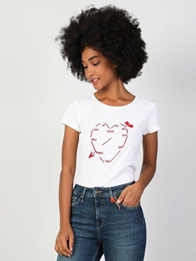 Dar Kesim Kadın Beyaz Kısa Kol Tişört
