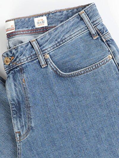 90 Tom Normal Kesim Orta Bel Düz Paça Erkek Mavi Jean Pantolon
