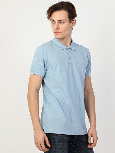 Regular Fit Polo Yaka Erkek Mavi Kısa Kol Tişört