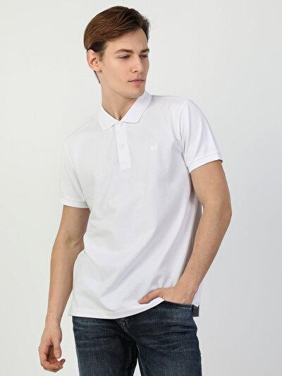 Polo Yaka Beyaz Kısa Kol Tişört