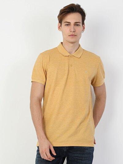 Regular Fit Polo Yaka Sarı Erkek Kısa Kol Tişört