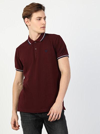 Polo Yaka Bordo Kısa Kol Tişört