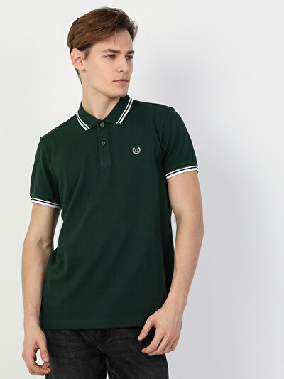 Polo Yaka Yeşil Kısa Kol Tişört