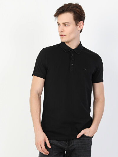 Dar Kesim Polo Yaka Siyah  Tişört
